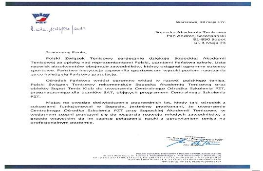 Jest szansa na powołanie Centralnego Ośrodka Szkolenia PZT przy Sopockiej Akademii Tenisowej!